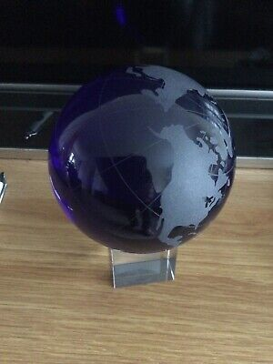 Lovely Deep Blue Etched Crystal Globe On Clear Stand • 24.50£
