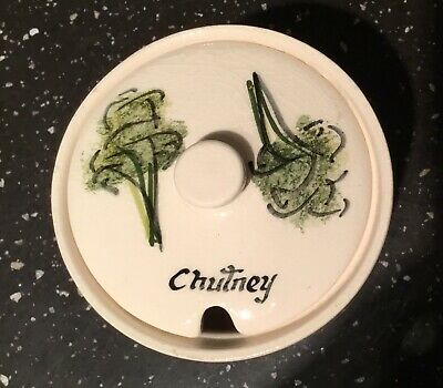 Vintage TONI RAYMOND Pottery. Hand-painted Chutney Pot With Lid. • 3.99£