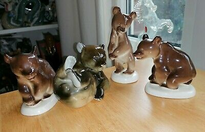 Family Of 4 BEARS, Clear Red Stamp, Lomonosov USSR.  • 15£