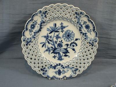 GERMAN MEISSEN RETICULATED LARGE 9.5  CABINET PLATE FLORAL PAINTED  C1930 • 29.95£