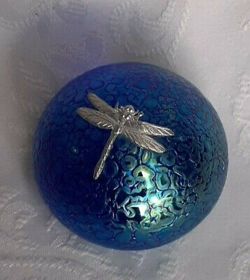 Heron Glass Blue Pebble Paperweight With Pewter Dragonfly - Gift Box - Hand Made • 22£