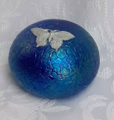 Heron Glass Blue Paperweight With Pewter Butterfly - Gift Box -  Hand Made In UK • 19£