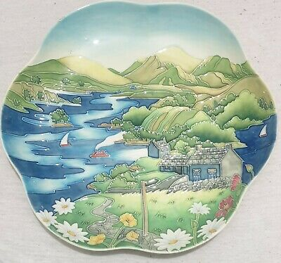 Old Tupton Ware? Large Tube Lined Plate Cottage Boats Lake • 30£