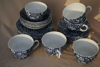 24 Pieces Of Calico Pottery. Mainly Burleigh But Four Plates Royal Crownford. • 125£