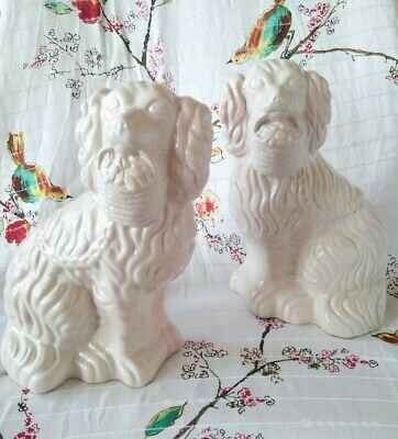 Rare Pair Of White  Staffordshire  Dogs With Flower Baskets 9 1/2  Tall.  • 10£