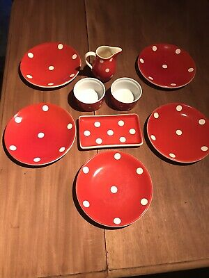 Retro Red Polka Dot Afternoon Tea Set. 9 Pieces • 10£