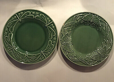 "2-BORDELLO PINHEIRO Salad Plates 1-DRAGONFLY And  1- BUTTERFLY Green 8"" • 10.85£"
