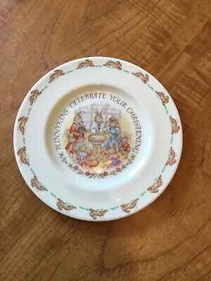 Bunnykins Christening Plate By Royal Doulton, Around 30 Years Old • 4£