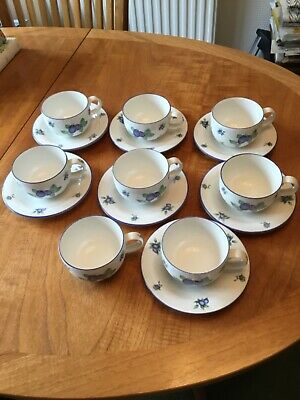 Royal Doulton Everyday Blueberry Unused 8 Cups And 7 Saucers • 35£