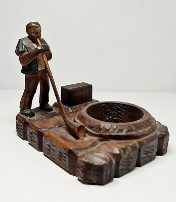 Wooden Carved Figure Ashtray  • 15£