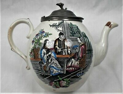 A Hand Coloured Tea Pot With Chinese Scene And Pewter Lid, English C.1870 • 0.99£