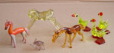 Vintage, Seven Small Glass Animals. • 7.50£