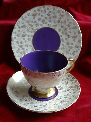 Stunning Vintage Art Deco Foley Gilt And Purple Trio V 2174 Early 1930s • 34.99£