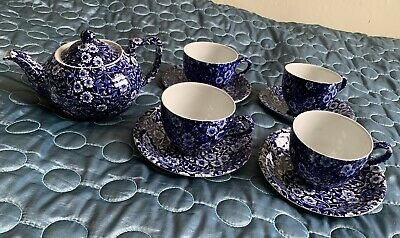 BURLEIGH WARE CHINA CALICO Small Teapot And Four Cups And Saucers • 10£