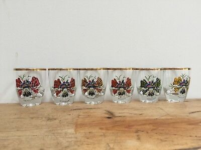 Vintage Gold Rimmed  Clan Crest Dram/shot Glasses - Set Of 6 • 30£