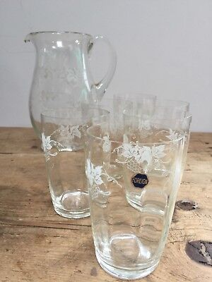 Vintage Etched Grapes & Vines Crystal/ Glass Jug & Set Of 6 Glasses   • 30£