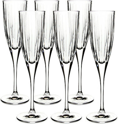 Royal Doulton Crystal Linear 6 Flute Champagne Glasses (boxed) - New • 42.50£