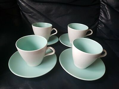 Poole Twintone Set Of 4 Cups And Saucers Green Grey • 12.99£