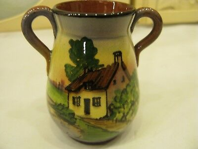 Rare Unusual Vintage Torquay Signed Devon Pottery Vase With 2 Handles UK  #PO257 • 39.95£