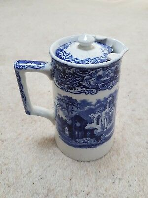 Vintage George Jones & Sons Abbey 1790 Blue & White Pottery Coffee Pot • 37.50£