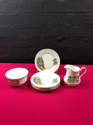6 X Queen Anne Country Cottage Side Plates + Milk / Cream Jug 4  And Sugar Bowl • 19.99£