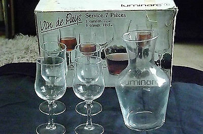 4 X Clear Luminarc France Stemmed Wine /Juice /Water Glasses & Matching Carafe • 10.25£