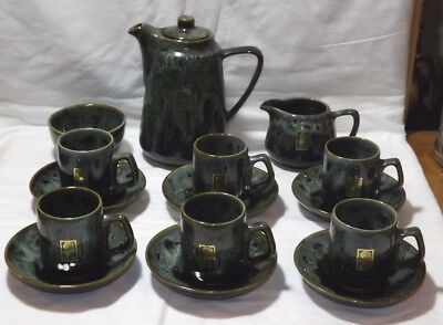Labelled Fosters Pottery South West Green Honeycomb Drip Glaze 15 Pce Coffee Set • 33.25£