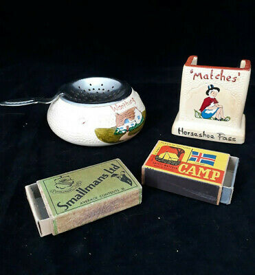 Vintage Manor Ware Match Striker And Tea Strainer, Horseshoe Pass And Worthing • 10£