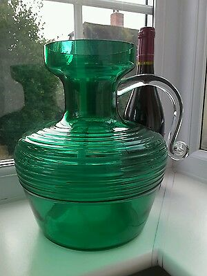 Unusual Large   Riihimaki   Kleopatra   Green Glass Vase By Tamara Aladin . • 64£