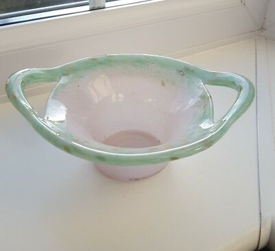 Vintage Vasart Handled  Art Glass Bowl . • 32£