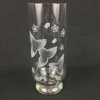 Etched Strawberries Leaves Clear Glass Cylinder Footed 12  Vase  • 29.46£