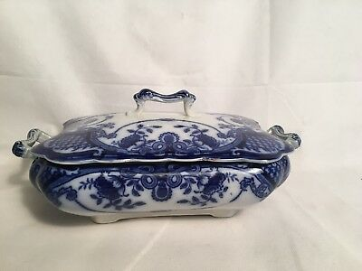 Antique F & Sons Bute Burslem Tauren Dish Serving Rectangular Flow Blue White • 75£