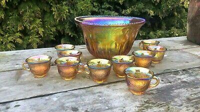 Beautiful Vintage Carnival Glass Large Punch Bowl With 10 Cups * • 185£