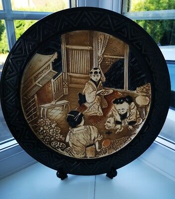 BRETBY Vintage Oriental Chinoserie Stoneware Decorative Wall Plate / Charger • 34£