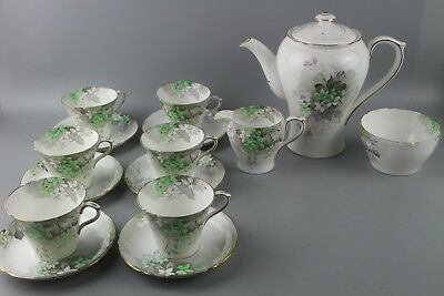 Shelley 'Green Blossom' Tea/Coffee Set In The Rare Perth Shape • 182.75£