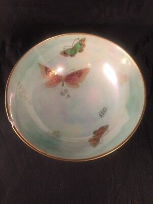 Vintage Shelly Bowl Green Lustre Ware Butterflies Made In England • 50£