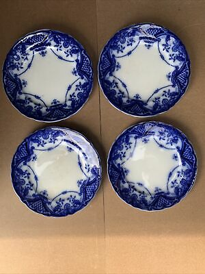 Antique F & Sons Bute Burslem Plates Flow Blue Made In England • 50£