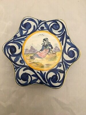 Vintage Henriot Quimper French Lided Box Hand Painted • 25£