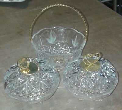 SET OF CUT GLASS / CRYSTAL ANNIVERSARY BOWLS AND BASKET. Lovely Gift.            • 29.99£