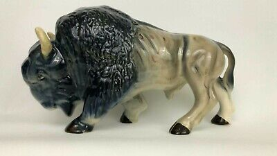 Large Vintage Melba Ware Staffordshire Pottery Bison Or Buffalo Figurine Animal* • 34.99£