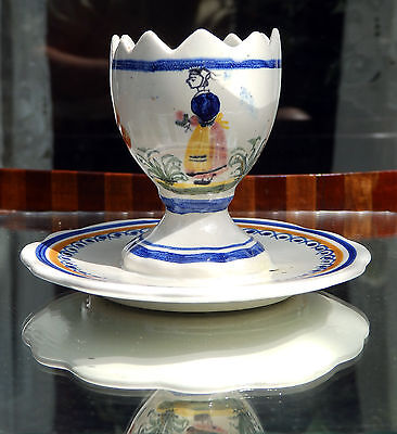 Henriot Quimper Faience Pottery : A Novelty Egg Cup • 28£
