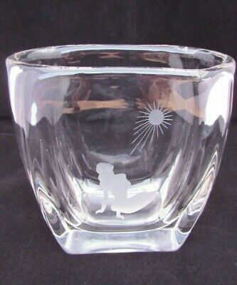 Beautiful Vintage Heavy Crystal Glass Vase With Etched Woman Under The Sun  • 20£