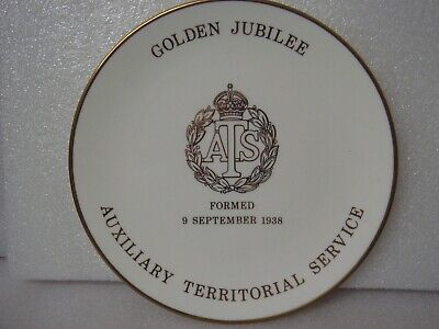 A.T.S AUXILIARY TERRITORIAL SERVICE GOLDEN JUBILEE PLATE BY GOSS Rare • 12£