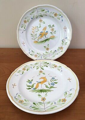 Two Handpainted Faience Plates, France • 15£