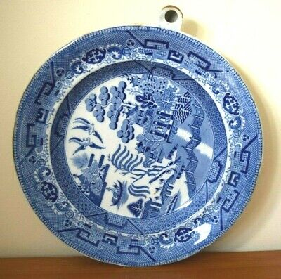 INCREDIBLY RARE Antique Staffordshire J. M'es Heated Plate - Blue & White Design • 28.99£