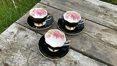 3 X Beautiful Vintage Queen Anne Black White & Gold Rose Cup & Saucers *  • 75£
