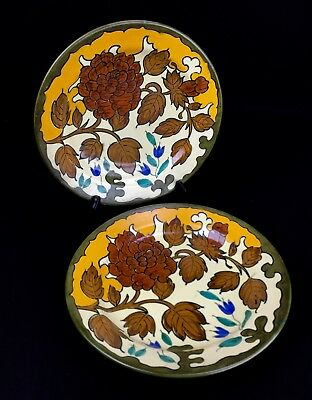Gouda Pottery Plate / Charger Pair / Vintage 1950's Yellow / Brown / Blue • 60£