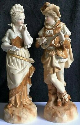 Very Rare Pair Of Large Antique Bisque Figurines Of A Young Couple Gilded  • 250£