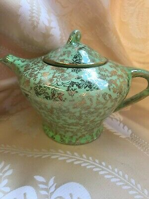 Superb Vintage 'Empire Shelton Ivory' Single Person Teapot - Green & Gold • 18£