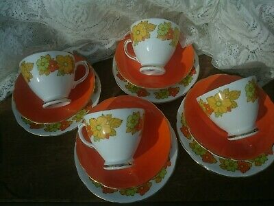 Vintage Retro Flower Power Fine Bone China Tea Set Trio X4 Royal Sutherland  VGC • 39.99£